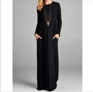 Dresses - Black maxi long sleeve high waist casual dress